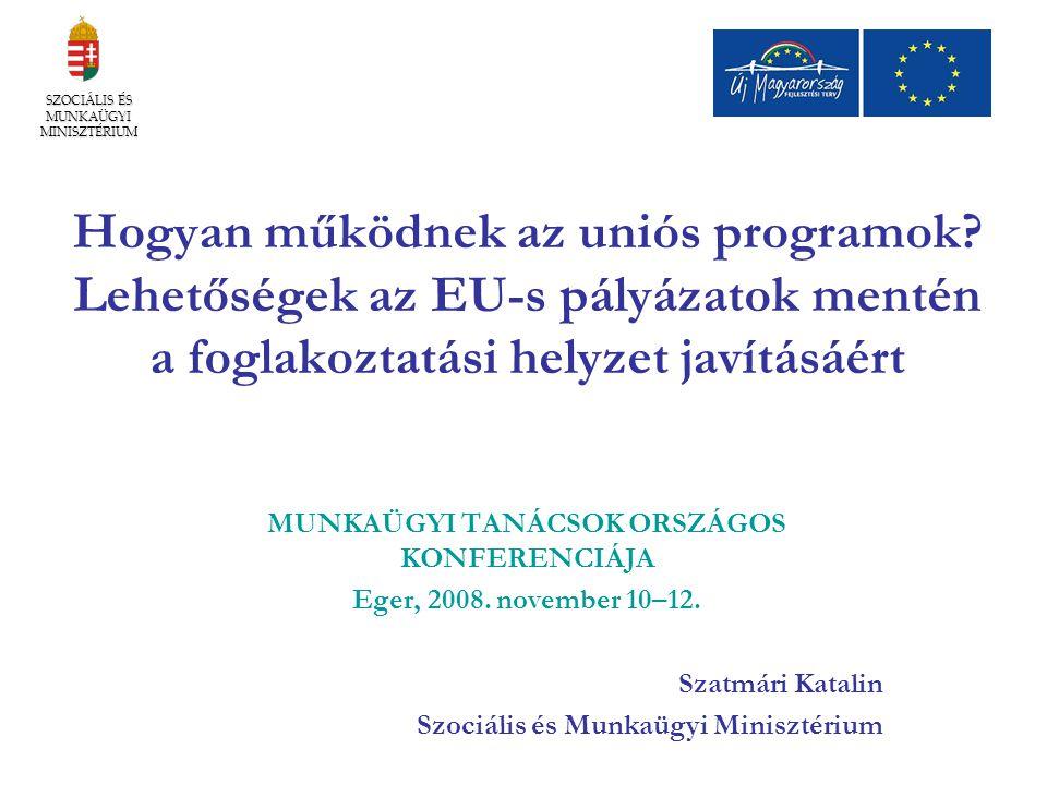Hogyan működnek az uniós programok? Lehetőségek az EU-s pályázatok mentén a foglakoztatási helyzet javításáért MUNKAÜGYI TANÁCSOK ORSZÁGOS KONFERENCIÁ