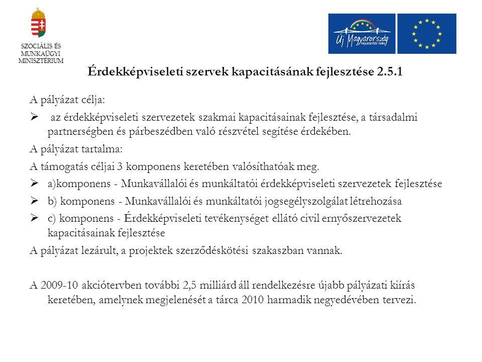 Érdekképviseleti szervek kapacitásának fejlesztése 2.5.1 A pályázat célja:  az érdekképviseleti szervezetek szakmai kapacitásainak fejlesztése, a tár