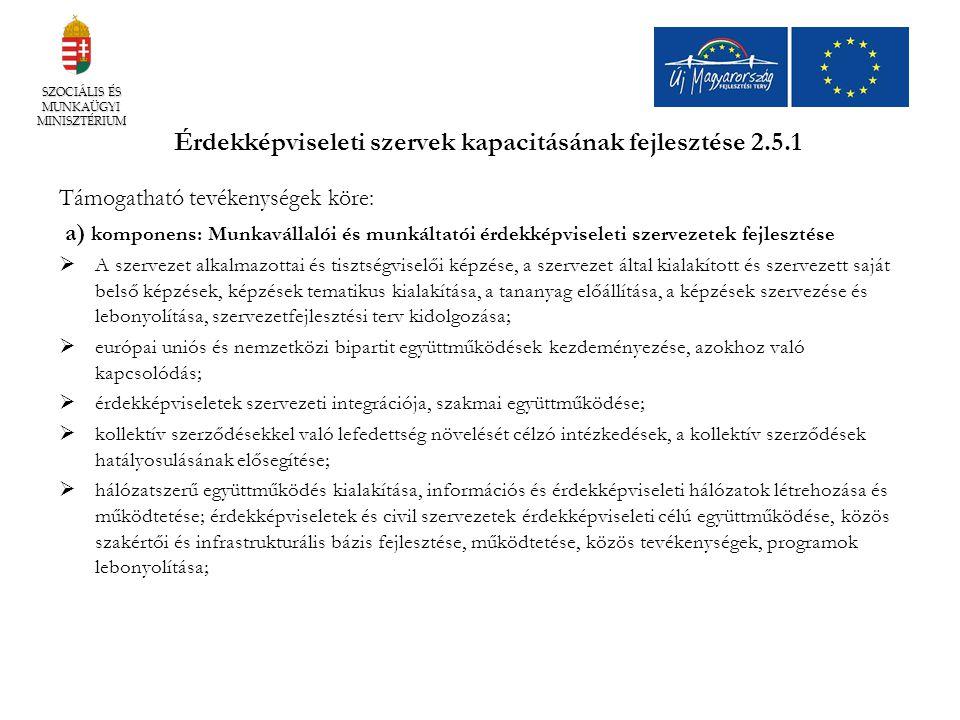 Érdekképviseleti szervek kapacitásának fejlesztése 2.5.1 Támogatható tevékenységek köre: a) komponens: Munkavállalói és munkáltatói érdekképviseleti s