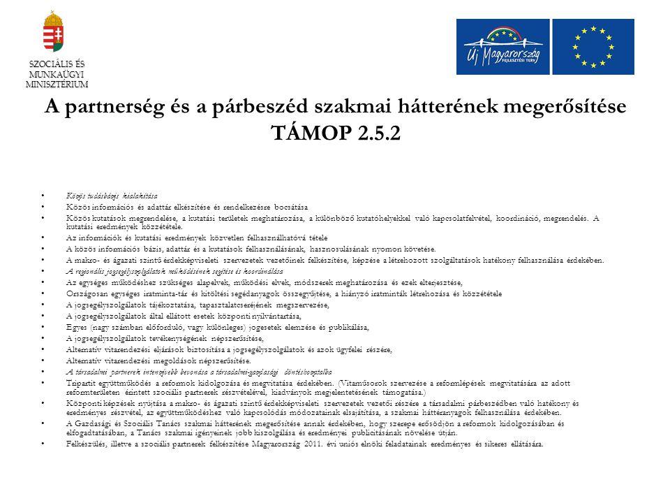 A partnerség és a párbeszéd szakmai hátterének megerősítése TÁMOP 2.5.2 Közös tudásbázis kialakítása Közös információs és adattár elkészítése és rende