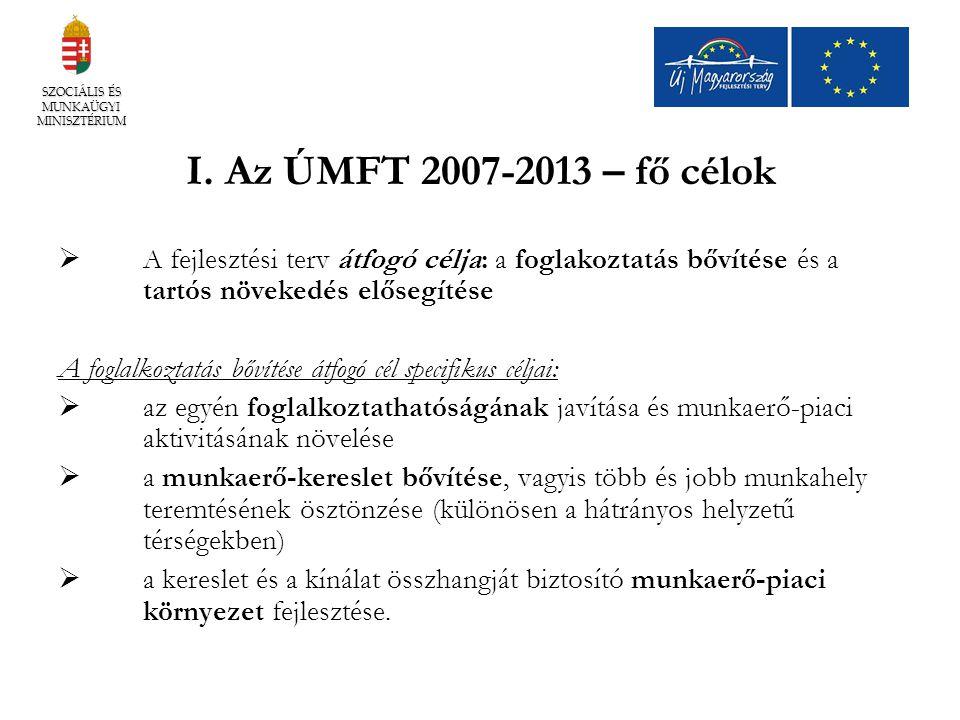 I. Az ÚMFT 2007-2013 – fő célok  A fejlesztési terv átfogó célja: a foglakoztatás bővítése és a tartós növekedés elősegítése A foglalkoztatás bővítés