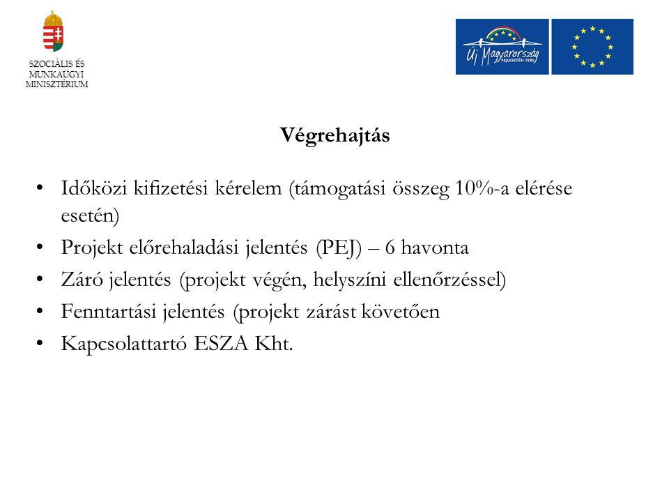 Végrehajtás Időközi kifizetési kérelem (támogatási összeg 10%-a elérése esetén) Projekt előrehaladási jelentés (PEJ) – 6 havonta Záró jelentés (projek