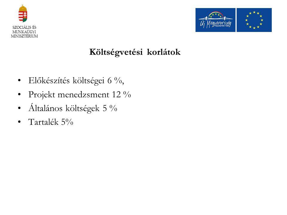 Költségvetési korlátok Előkészítés költségei 6 %, Projekt menedzsment 12 % Általános költségek 5 % Tartalék 5% SZOCIÁLIS ÉS MUNKAÜGYI MINISZTÉRIUM