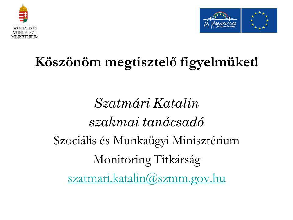 Köszönöm megtisztelő figyelmüket! Szatmári Katalin szakmai tanácsadó Szociális és Munkaügyi Minisztérium Monitoring Titkárság szatmari.katalin@szmm.go