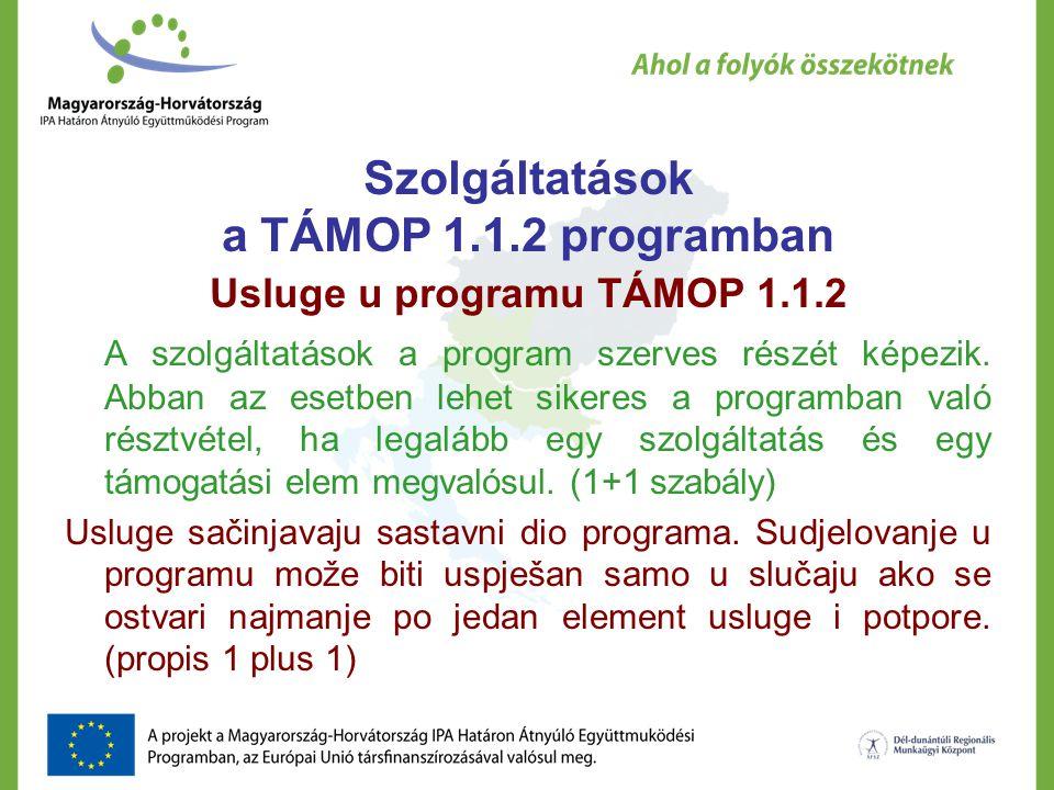 Szolgáltatások a TÁMOP 1.1.2 programban Usluge u programu TÁMOP 1.1.2 A szolgáltatások a program szerves részét képezik.