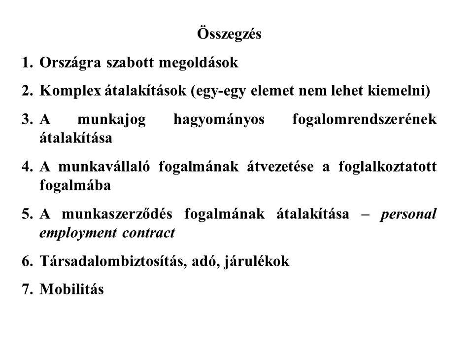 Összegzés 1.Országra szabott megoldások 2.Komplex átalakítások (egy-egy elemet nem lehet kiemelni) 3.A munkajog hagyományos fogalomrendszerének átalak