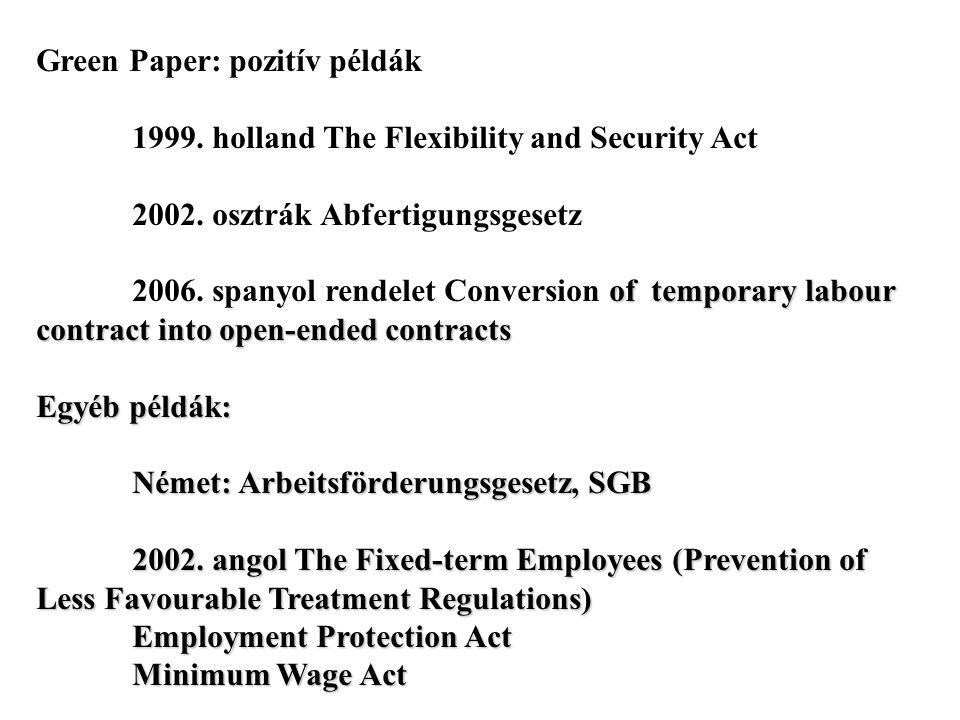 Green Paper: pozitív példák 1999. holland The Flexibility and Security Act 2002. osztrák Abfertigungsgesetz of temporary labour contract into open-end