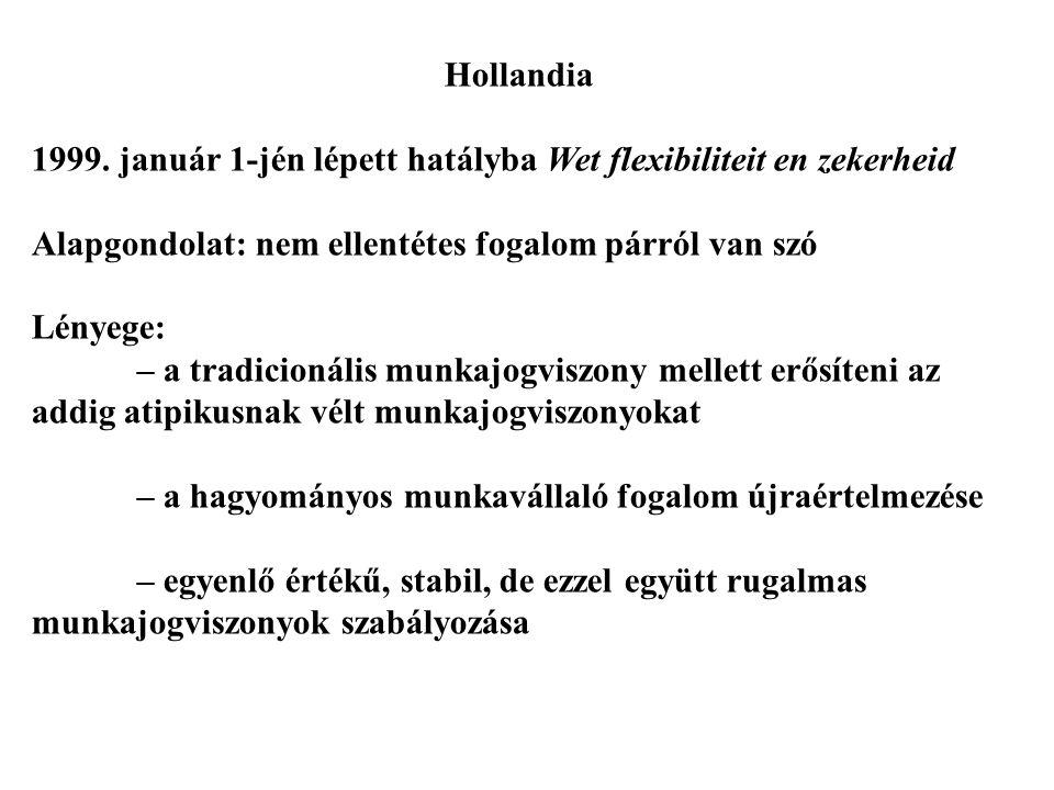 Hollandia 1999. január 1-jén lépett hatályba Wet flexibiliteit en zekerheid Alapgondolat: nem ellentétes fogalom párról van szó Lényege: – a tradicion