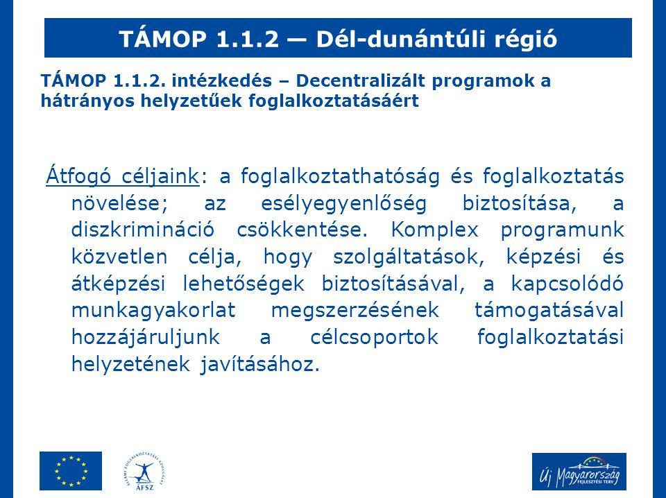 TÁMOP 1.1.2. intézkedés – Decentralizált programok a hátrányos helyzetűek foglalkoztatásáért Átfogó céljaink: a foglalkoztathatóság és foglalkoztatás