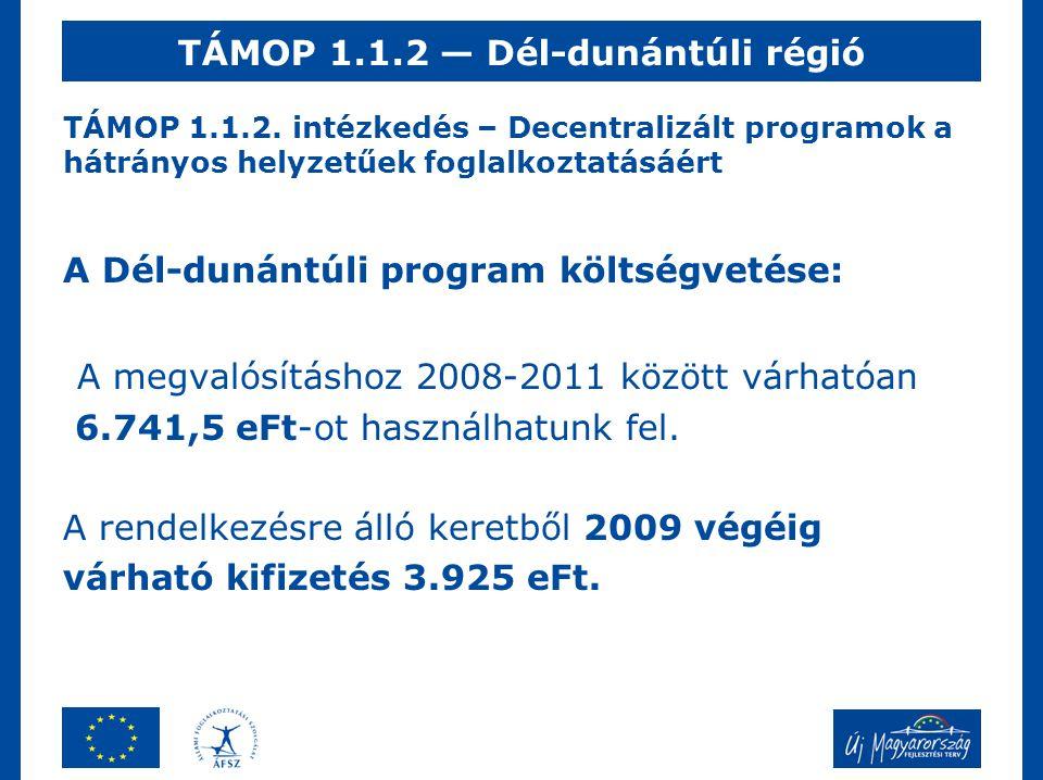 TÁMOP 1.1.2. intézkedés – Decentralizált programok a hátrányos helyzetűek foglalkoztatásáért A Dél-dunántúli program költségvetése: A megvalósításhoz