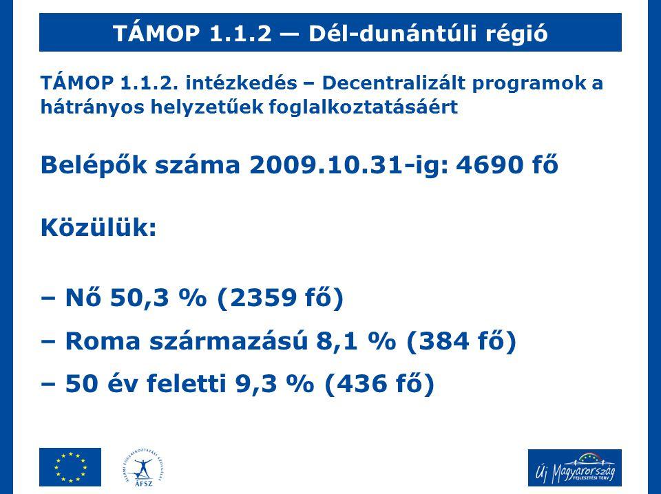 TÁMOP 1.1.2. intézkedés – Decentralizált programok a hátrányos helyzetűek foglalkoztatásáért Belépők száma 2009.10.31-ig: 4690 fő Közülük: – Nő 50,3 %