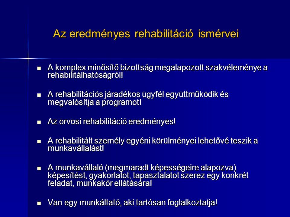 Az eredményes rehabilitáció ismérvei A komplex minősítő bizottság megalapozott szakvéleménye a rehabilitálhatóságról! A komplex minősítő bizottság meg