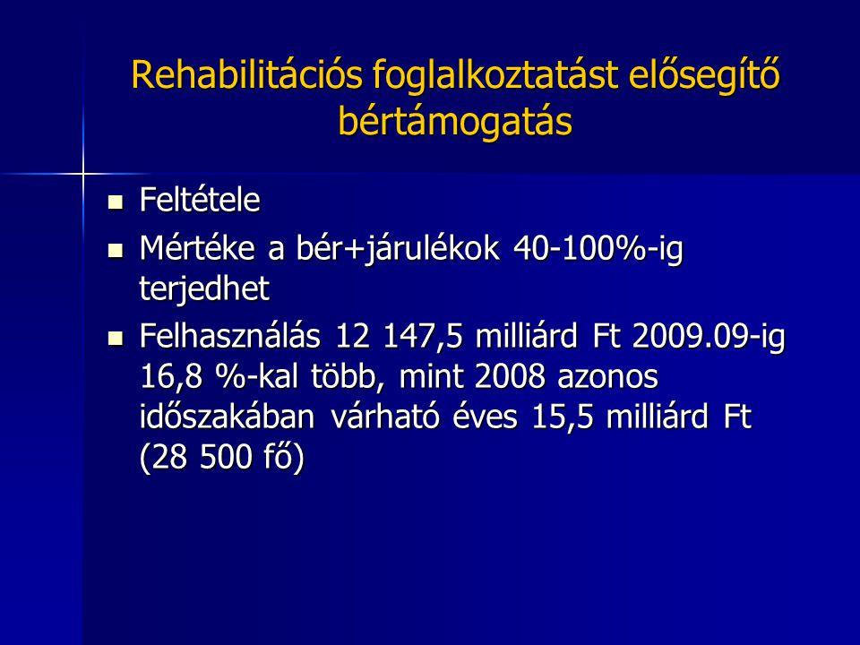 Rehabilitációs foglalkoztatást elősegítő bértámogatás Feltétele Feltétele Mértéke a bér+járulékok 40-100%-ig terjedhet Mértéke a bér+járulékok 40-100%