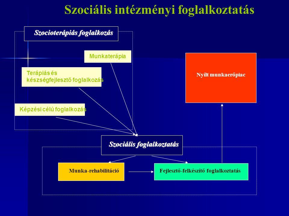 Munka-rehabilitáció Fejlesztő-felkészítő foglalkoztatás Nyílt munkaerőpiac MunkaterápiaKépzési célú foglalkozásTerápiás és készségfejlesztő foglalkozá