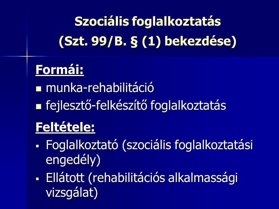 Szociális foglalkoztatás (Szt. 99/B. § (1) bekezdése) Formái: munka-rehabilitáció munka-rehabilitáció fejlesztő-felkészítő foglalkoztatás fejlesztő-fe