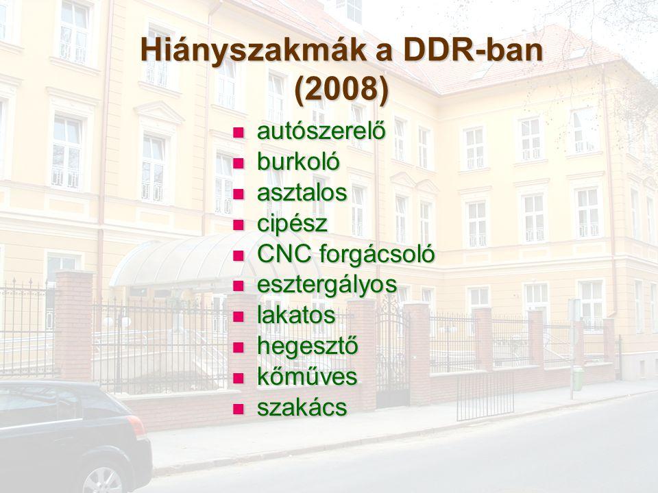 Hiányszakmák a DDR-ban (2008) autószerelő autószerelő burkoló burkoló asztalos asztalos cipész cipész CNC forgácsoló CNC forgácsoló esztergályos eszte