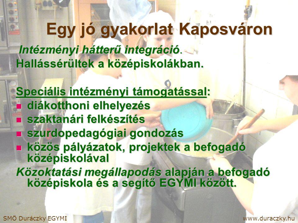 Egy jó gyakorlat Kaposváron Intézményi hátterű integráció. Intézményi hátterű integráció. Hallássérültek a középiskolákban. Speciális intézményi támog