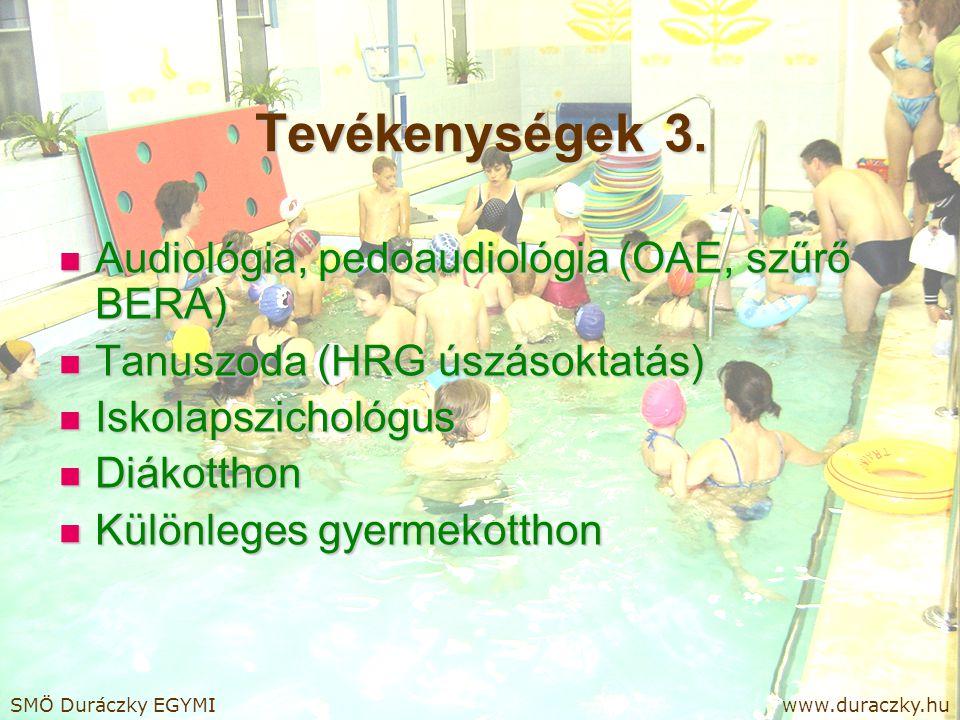 Tevékenységek 3. Audiológia, pedoaudiológia (OAE, szűrő BERA) Audiológia, pedoaudiológia (OAE, szűrő BERA) Tanuszoda (HRG úszásoktatás) Tanuszoda (HRG