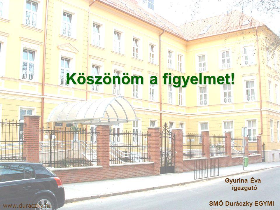 Köszönöm a figyelmet! www.duraczky.hu Gyurina Éva igazgató Gyurina Éva igazgató SMÖ Duráczky EGYMI SMÖ Duráczky EGYMI