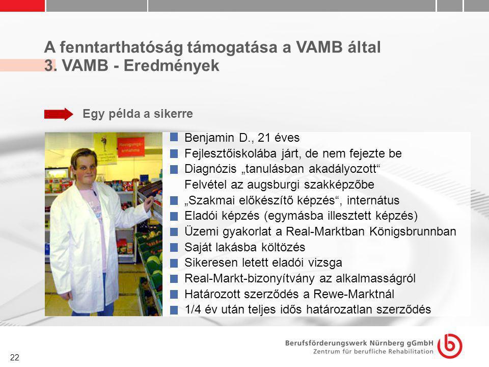 22 A fenntarthatóság támogatása a VAMB által 3. VAMB - Eredmények Egy példa a sikerre Benjamin D., 21 éves Fejlesztőiskolába járt, de nem fejezte be D