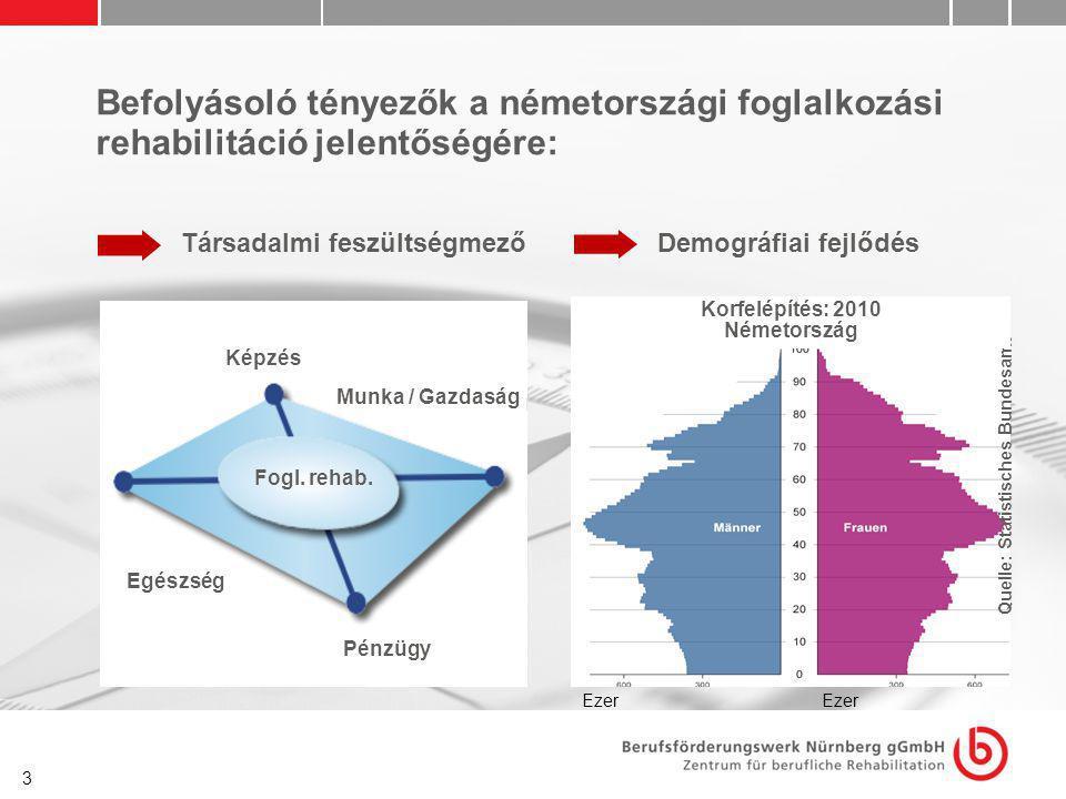 3 Befolyásoló tényezők a németországi foglalkozási rehabilitáció jelentőségére: Társadalmi feszültségmező Fogl. rehab. Képzés Pénzügyek Munka / Gazdas
