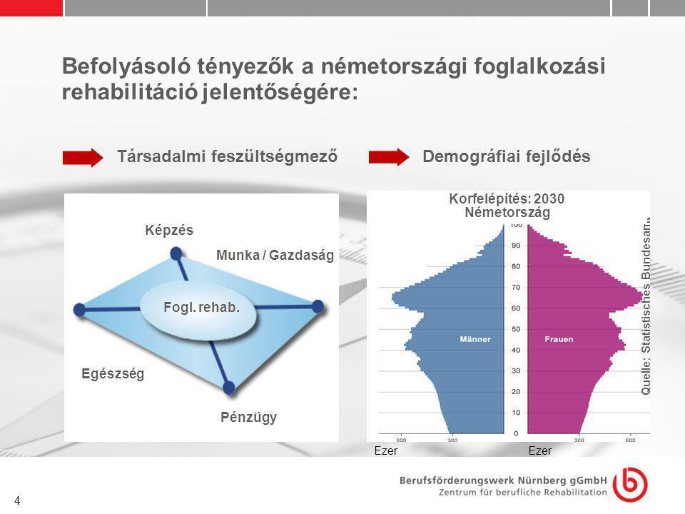4 Befolyásoló tényezők a németországi foglalkozási rehabilitáció jelentőségére: Társadalmi feszültségmező Fogl. rehab. Képzés Pénzügyek Munka / Gazdas