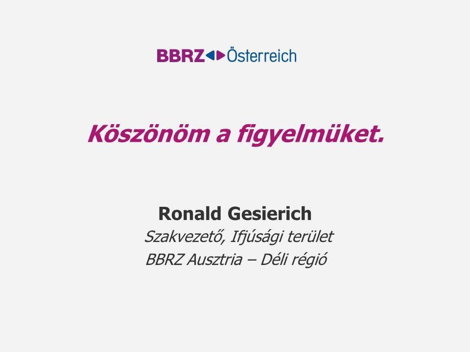 Köszönöm a figyelmüket. Ronald Gesierich Szakvezető, Ifjúsági terület BBRZ Ausztria – Déli régió