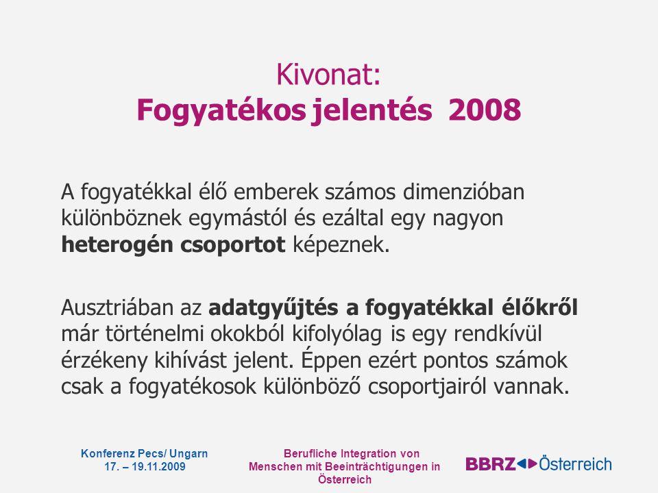 Berufliche Integration von Menschen mit Beeinträchtigungen in Österreich Konferenz Pecs/ Ungarn 17. – 19.11.2009 Kivonat: Fogyatékos jelentés 2008 A f