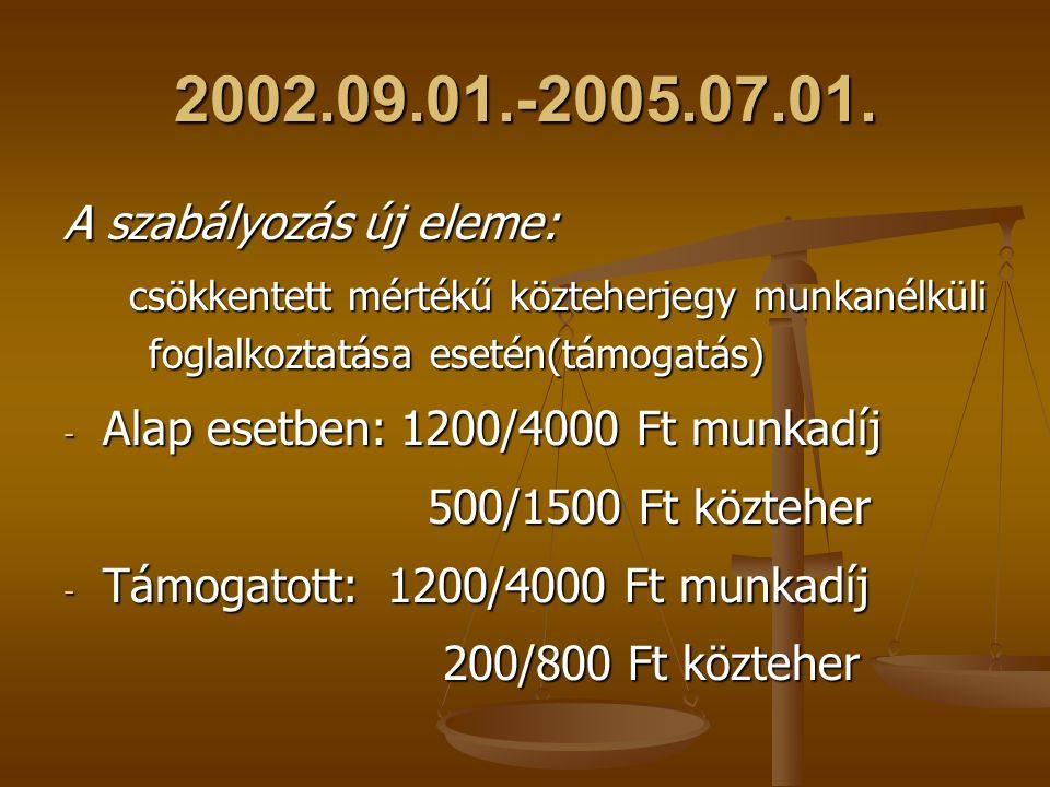 2002.09.01.-2005.07.01. A szabályozás új eleme: csökkentett mértékű közteherjegy munkanélküli foglalkoztatása esetén(támogatás) csökkentett mértékű kö