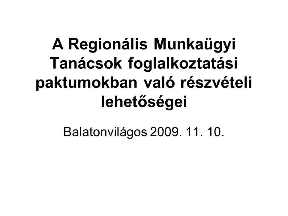 A Regionális Munkaügyi Tanácsok foglalkoztatási paktumokban való részvételi lehetőségei Balatonvilágos 2009.