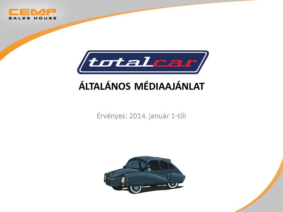  Magyarország legolvasottabb autós magazinja, mely az Index.hu címlapjáról is elérhető (az Index 2000-ben alapított melléklete)  a Totalcar a hazai autós magazinpiacon a legszélesebb és a leginkább sokoldalú elérést tudhatja magáénak  a Totalcar fennállása óta létezett TV- és rádióműsorként, adott ki könyvet és újságot  a Totalcar oldalon számos egyedi szolgáltatás érhető el, például: Népítélet, Gumidoktor, Hiteldoktor stb.