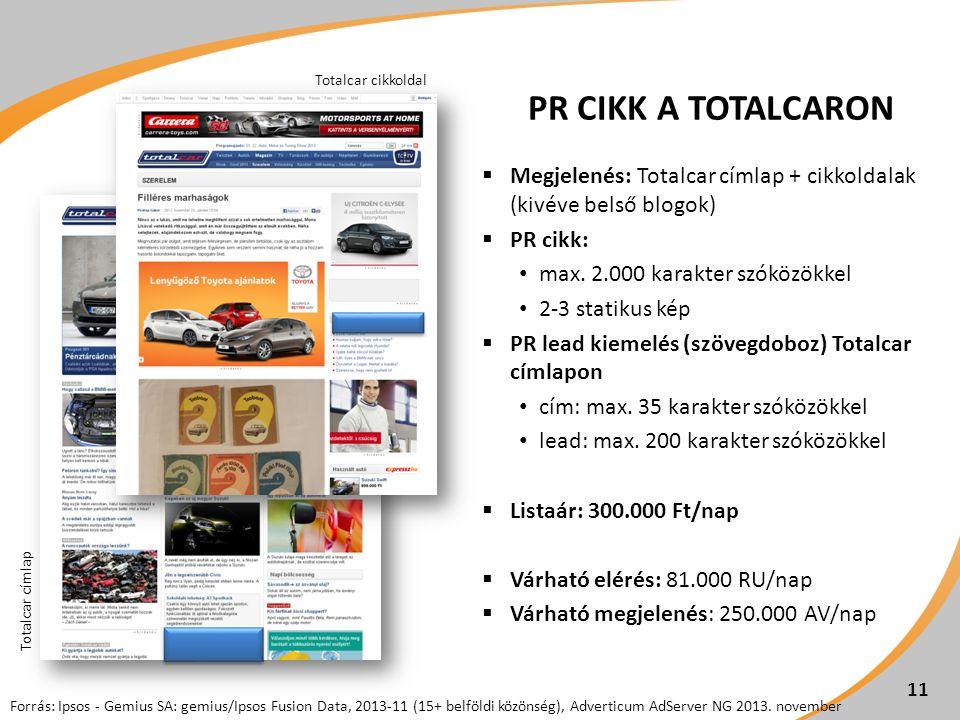 PR CIKK A TOTALCARON  Megjelenés: Totalcar címlap + cikkoldalak (kivéve belső blogok)  PR cikk: max. 2.000 karakter szóközökkel 2-3 statikus kép  P