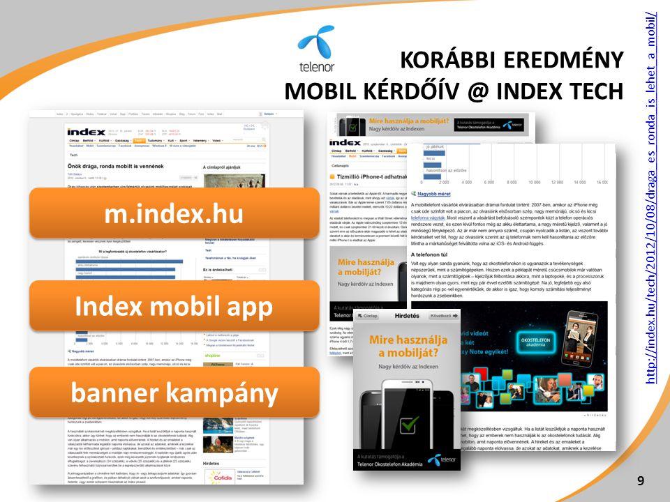 kiemelés címlapon a vezetőben 10 tipikus Index olvasók 39 ezer megnyitás 20 ezer kitöltő KORÁBBI EREDMÉNY MOBIL KÉRDŐÍV @ INDEX TECH
