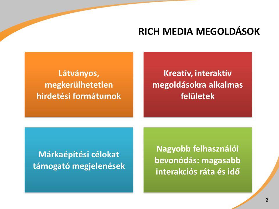 RICH MEDIA MEGOLDÁSOK Látványos, megkerülhetetlen hirdetési formátumok Kreatív, interaktív megoldásokra alkalmas felületek Márkaépítési célokat támoga