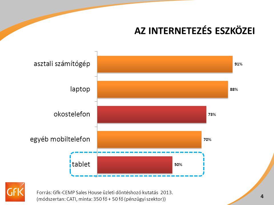 AZ INTERNETEZÉS ESZKÖZEI 4 Forrás: Gfk-CEMP Sales House üzleti döntéshozó kutatás 2013. (módszertan: CATI, minta: 350 fő + 50 fő (pénzügyi szektor))
