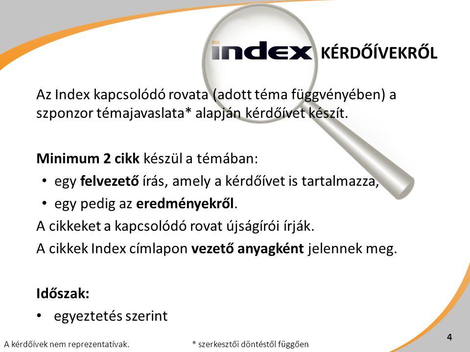 KÉRDŐÍVEKRŐL 4 Az Index kapcsolódó rovata (adott téma függvényében) a szponzor témajavaslata* alapján kérdőívet készít. Minimum 2 cikk készül a témába