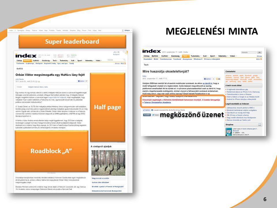 """Roadblock """"A"""" Half page Super leaderboard MEGJELENÉSI MINTA 6 megköszönő üzenet"""