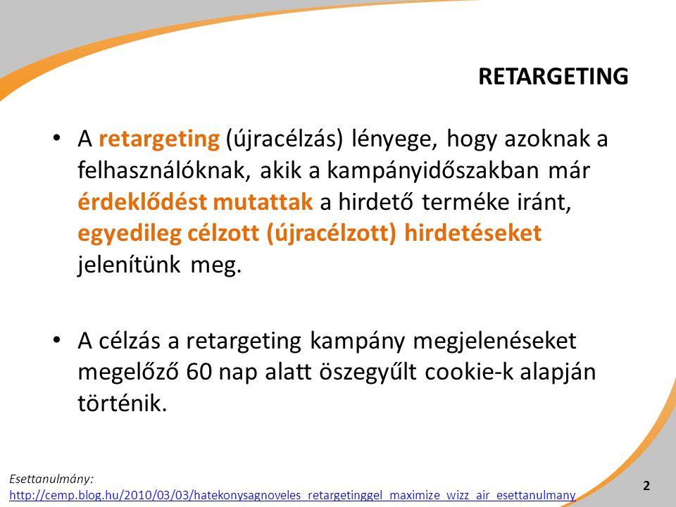 A RETARGETING ELŐNYEI 3 demográfia és tematika alapján célzott hirdetések retargetált, egyedileg célzott hirdetések  a megfontolás (consideration) fázisában éri el a fogyasztót  javítja a konverziós arányt  csökkenti az ügyfél megszerzésének költségét  növeli a megtérülést (ROI: return on investment)  kapcsolatot épít a fogyasztóval