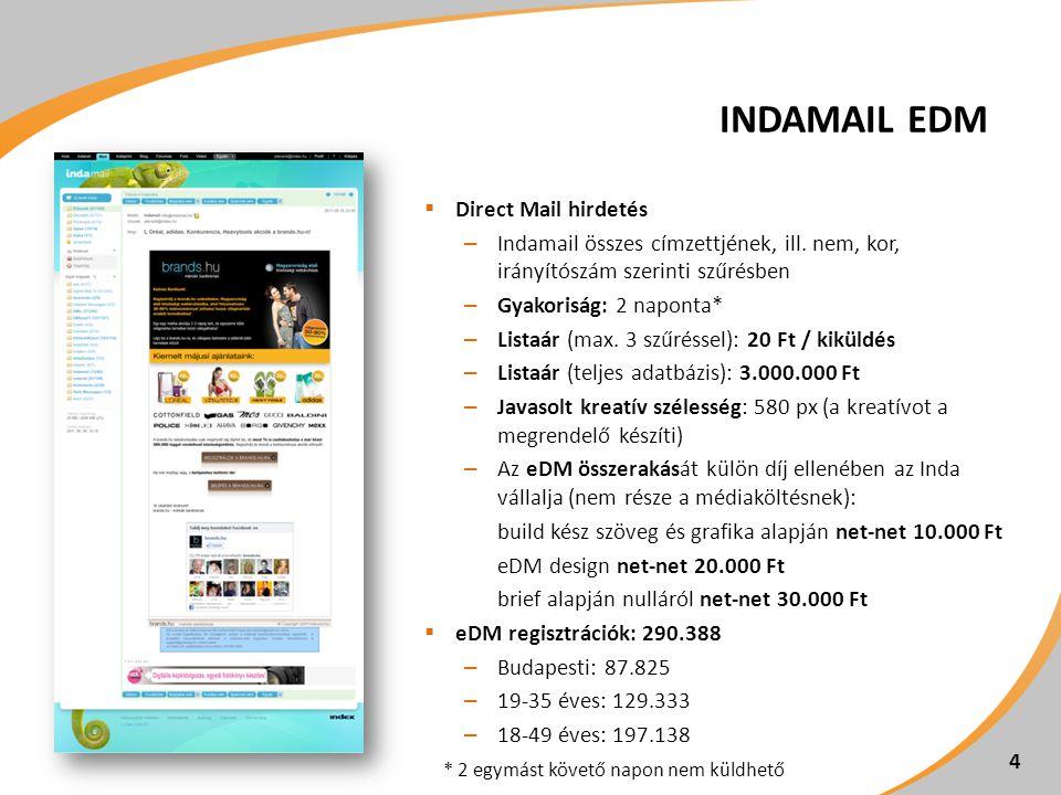 INDAMAIL EDM  Direct Mail hirdetés – Indamail összes címzettjének, ill.