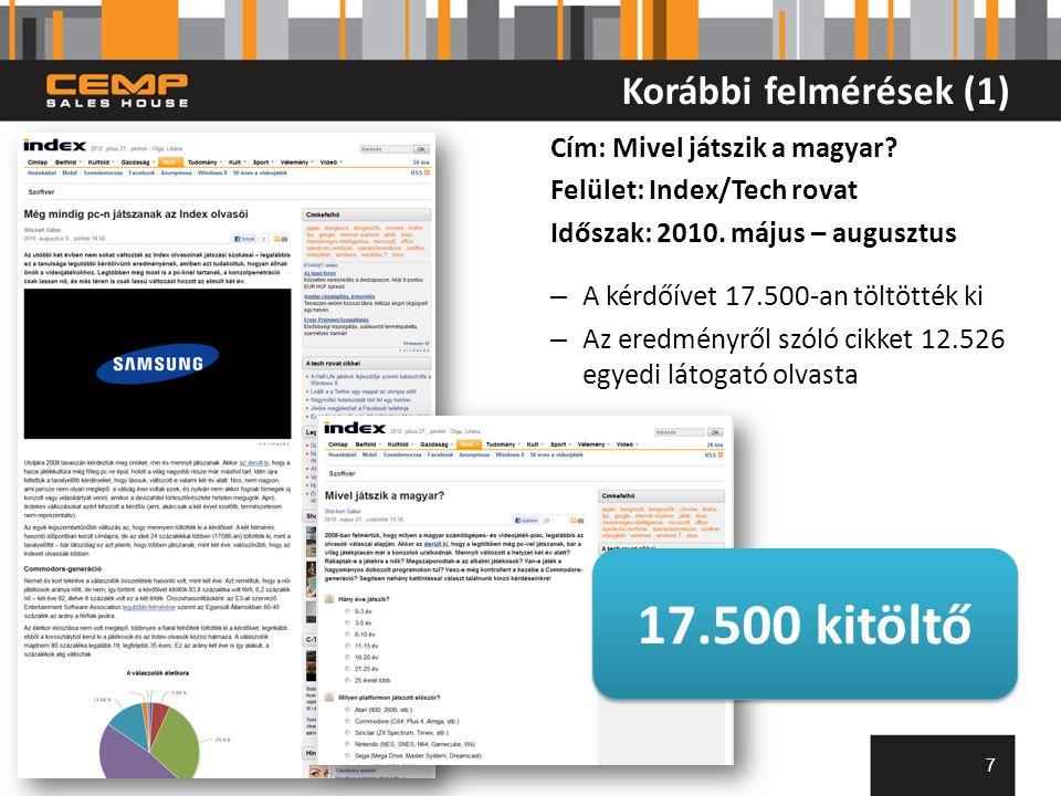 Korábbi felmérések (1) Cím: Mivel játszik a magyar? Felület: Index/Tech rovat Időszak: 2010. május – augusztus – A kérdőívet 17.500-an töltötték ki –