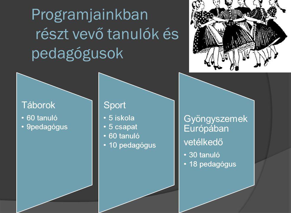 Programjainkban részt vevő tanulók és pedagógusok Táborok 60 tanuló 9pedagógus Sport 5 iskola 5 csapat 60 tanuló 10 pedagógus Gyöngyszem ek Európában