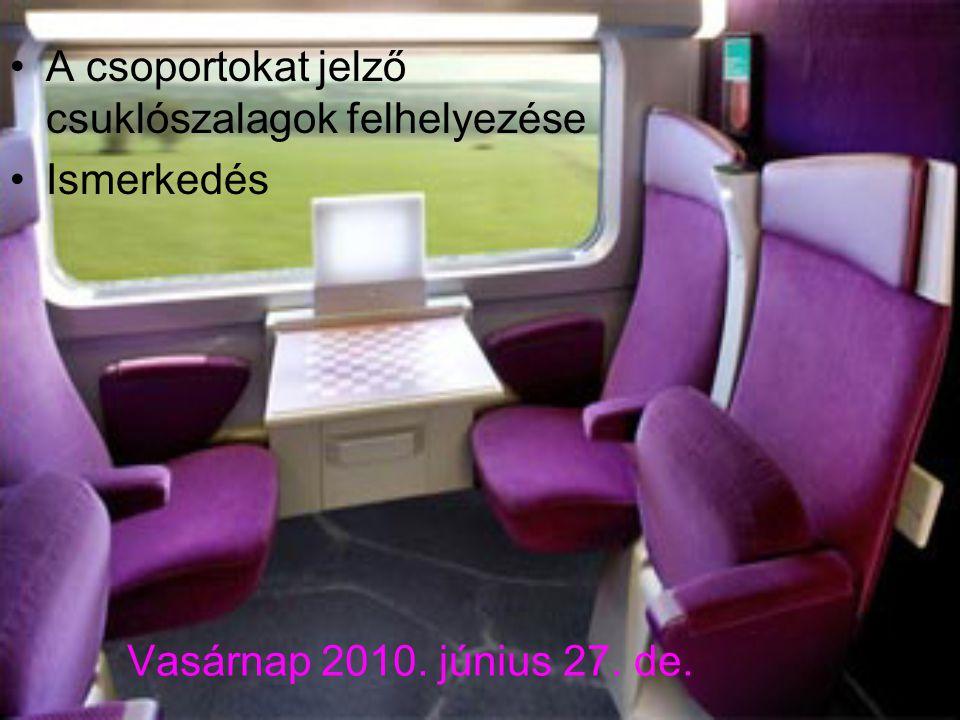 Vasárnap 2010. június 27. de. A csoportokat jelző csuklószalagok felhelyezése Ismerkedés