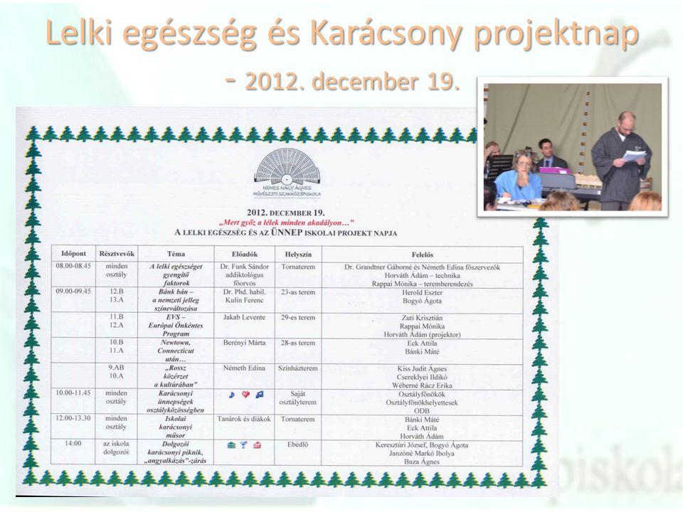 Lelki egészség és Karácsony projektnap - 2012. december 19.