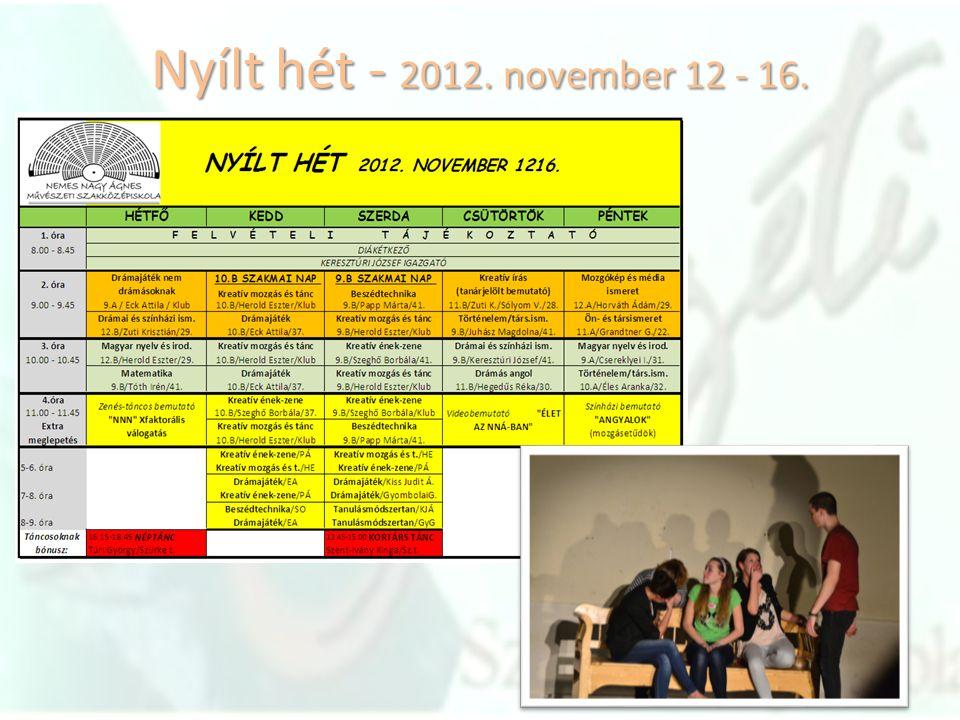 Nyílt hét - 2012. november 12 - 16.