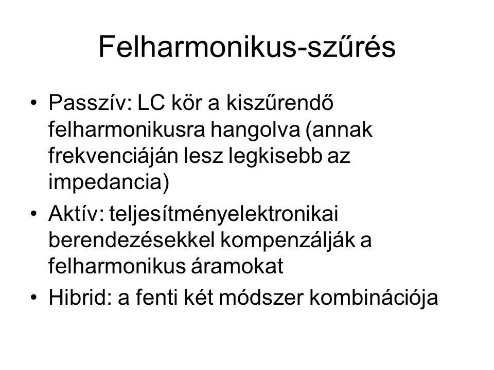 Felharmonikus-szűrés Passzív: LC kör a kiszűrendő felharmonikusra hangolva (annak frekvenciáján lesz legkisebb az impedancia) Aktív: teljesítményelektronikai berendezésekkel kompenzálják a felharmonikus áramokat Hibrid: a fenti két módszer kombinációja