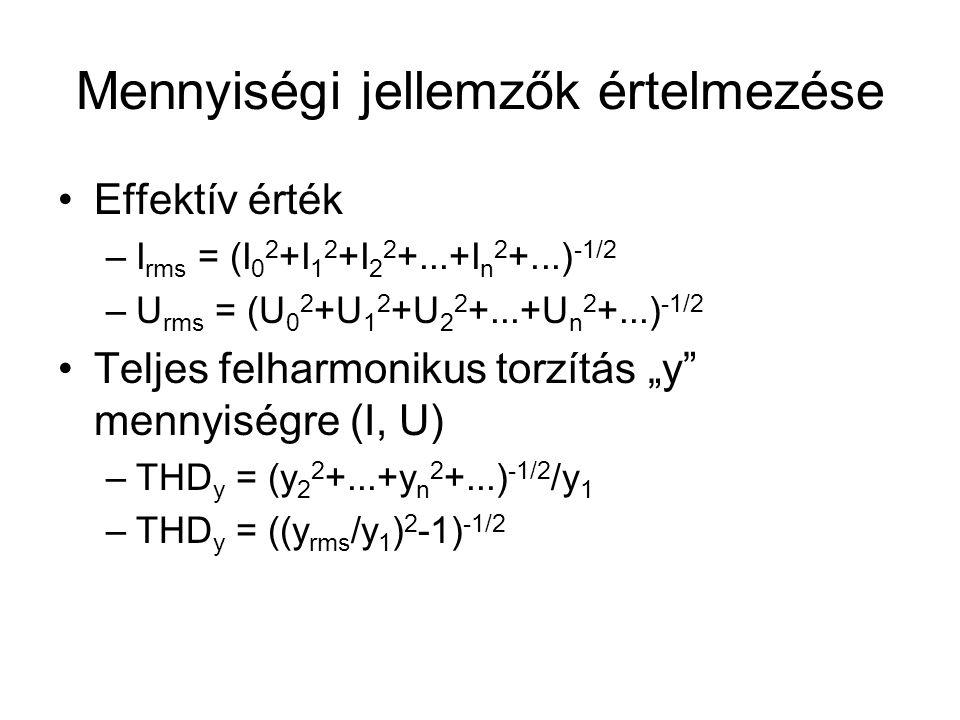 """Mennyiségi jellemzők értelmezése Effektív érték –I rms = (I 0 2 +I 1 2 +I 2 2 +...+I n 2 +...) -1/2 –U rms = (U 0 2 +U 1 2 +U 2 2 +...+U n 2 +...) -1/2 Teljes felharmonikus torzítás """"y mennyiségre (I, U) –THD y = (y 2 2 +...+y n 2 +...) -1/2 /y 1 –THD y = ((y rms /y 1 ) 2 -1) -1/2"""