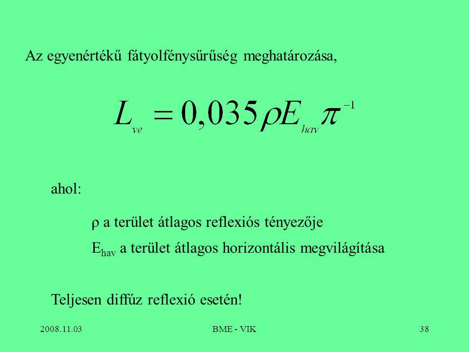 2008.11.03BME - VIK38 Az egyenértékű fátyolfénysűrűség meghatározása, ahol: ρ a terület átlagos reflexiós tényezője E hav a terület átlagos horizontális megvilágítása Teljesen diffúz reflexió esetén!
