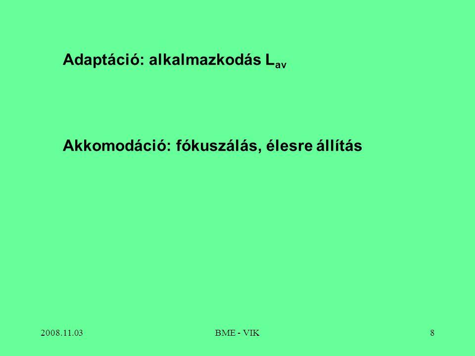2008.11.03BME - VIK8 Adaptáció: alkalmazkodás L av Akkomodáció: fókuszálás, élesre állítás