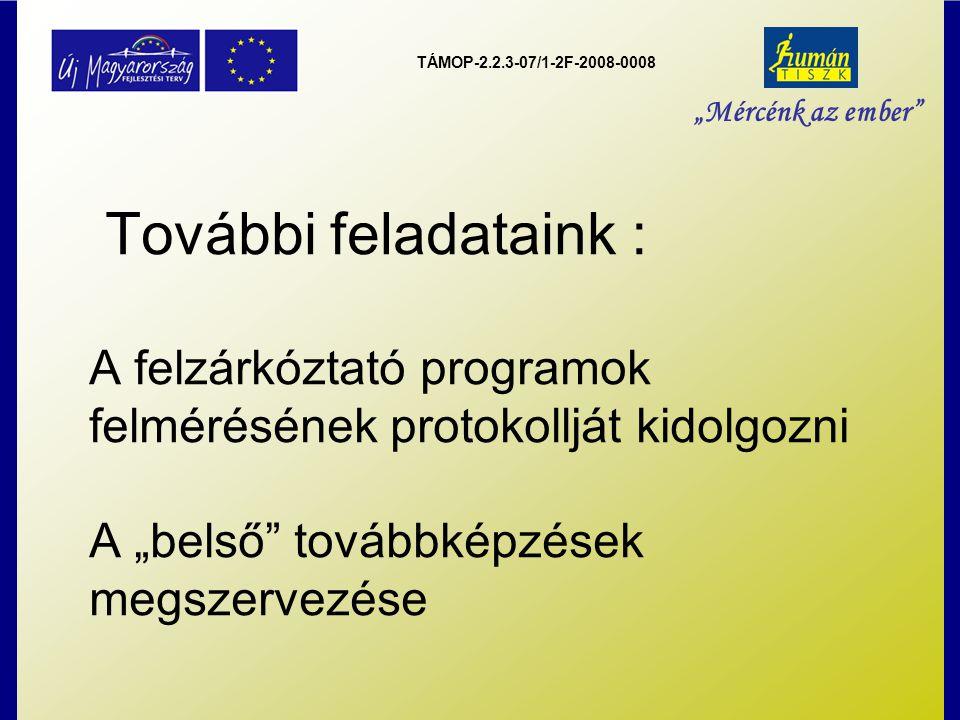 """TÁMOP-2.2.3-07/1-2F-2008-0008 """"Mércénk az ember További feladataink : A felzárkóztató programok felmérésének protokollját kidolgozni A """"belső továbbképzések megszervezése"""
