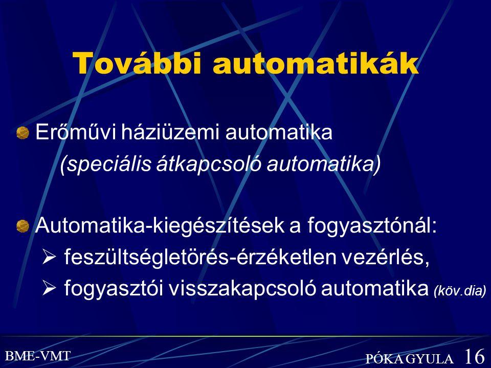További automatikák Automatika-kiegészítések a fogyasztónál:  feszültségletörés-érzéketlen vezérlés,  fogyasztói visszakapcsoló automatika (köv.dia)